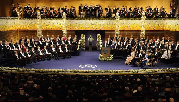 Entrega de los premios Nobel en 2011.