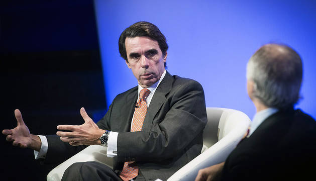 José María Aznar, durante su participación en una charla coloquio con el periodista colombiano Juan Carlos Iragorri.