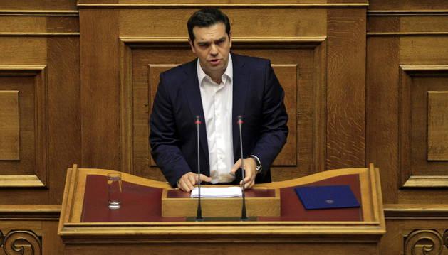 El primer ministro griego, Alexis Tsipras durante la presentación de su programa de Gobierno.