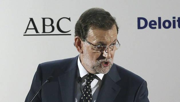 Mariano Rajoy, durante su intervención hoy en un almuerzo-coloquio del Foro ABC.