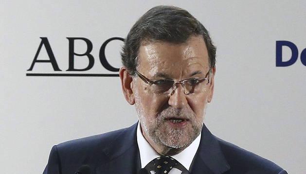 Mariano Rajoy, durante su intervención en un almuerzo-coloquio del Foro ABC.