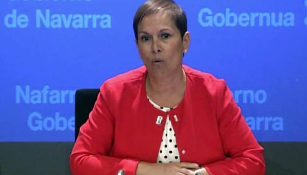La presidenta del Gobierno foral, durante su comparecencia ante los medios este miércoles.