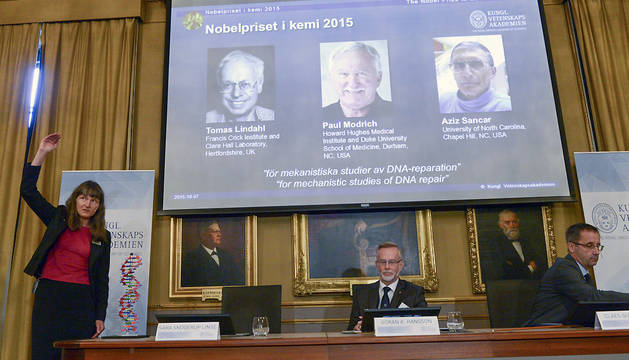 La profesora Sara Snogerup Linse explica las razones del Nobel de Química este miércoles en Estocolmo.