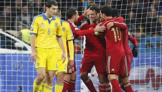España apaga las ilusiones de Ucrania con un gol de Mario