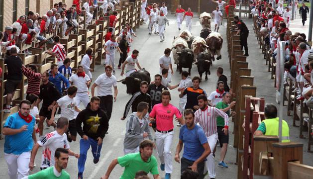 Imagen del encierro del día 27 de julio, en el que se ven los 5 toros que corrieron, 3 en cabeza y otros 2 tras los cabestros.