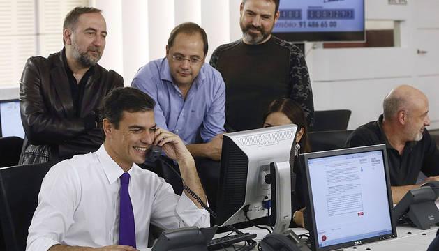 Pedro Sánchez, en la sede de Ferraz.