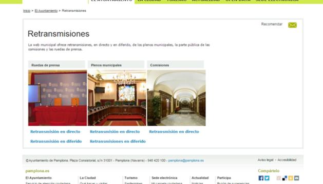 Captura de la página de retransmisiones en directo en www.pamplona.es.
