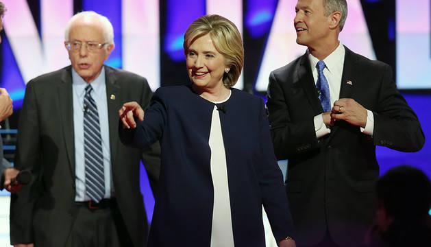 Bernie Sanders, Hillary Clinton y Martin O'Malley.