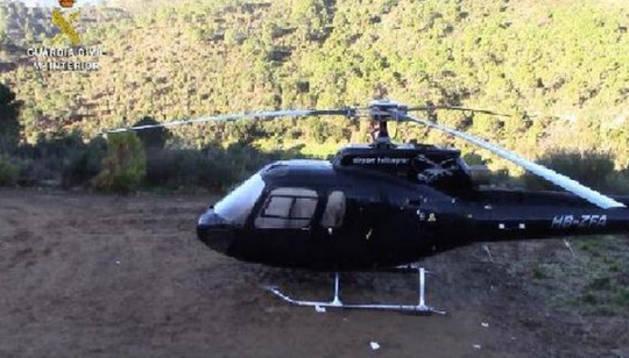 Uno de los helicópteros intervenidos.
