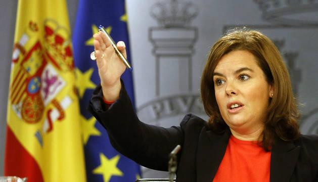 Soraya Sánez de Santamaría, durante la rueda de prensa tras el Consejo de Ministros.