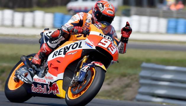 Marc Márquez durante la clasificación del Gran Premio de Australia.