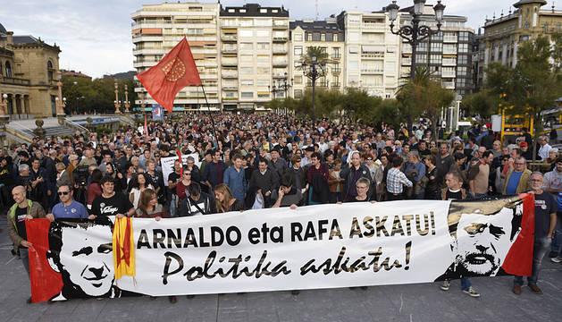 La cabeza de la manifestación, en San Sebastián.
