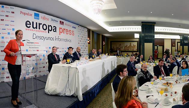 Barkos, durante los Desayunos de Europa Press.