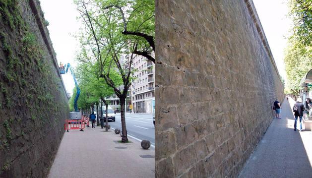 La muralla de la Ciudadela antes y después de la limpieza.