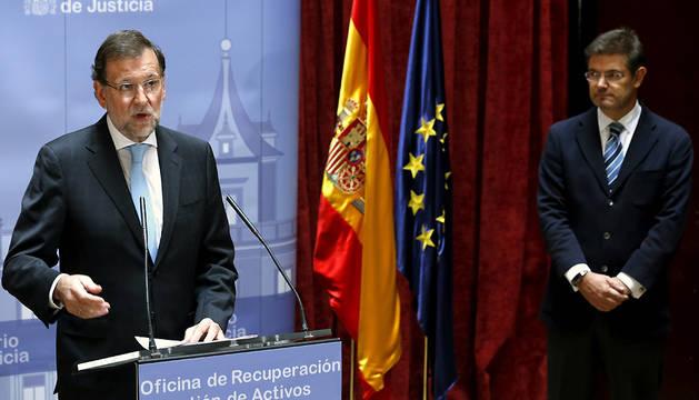 Mariano Rajoy, durante su intervención en la inauguración de la Oficina de Recuperación y Gestión de Activos (ORA).