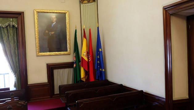 Banderas y cuadro de Felipe VI, al fondo del salón de plenos.