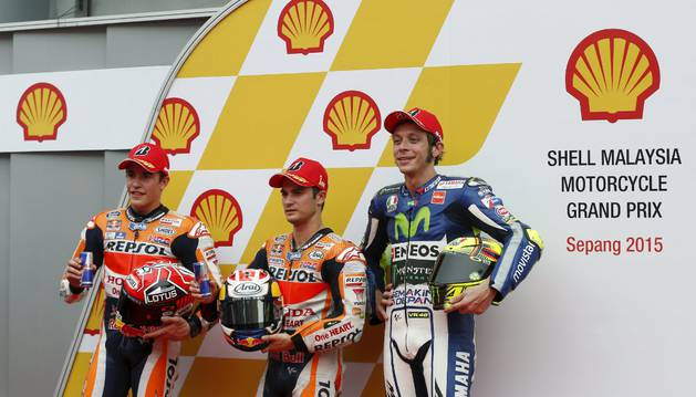 Márquez, Pedrosa y Rossi.