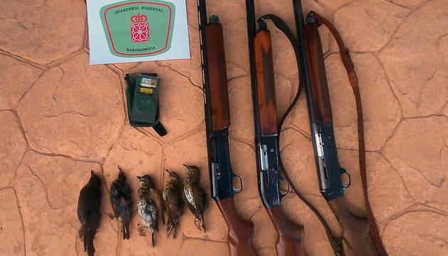 Reclamo electrónico, escopetas y aves abatidas por los cazadores denunciados.