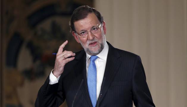 Mariano Rajoy, en la rueda de prensa posterior a la reunión extraordinaria del Consejo de Ministros.