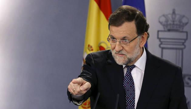 El presidente del Gobierno, Mariano Rajoy, durante su comparecencia institucional.