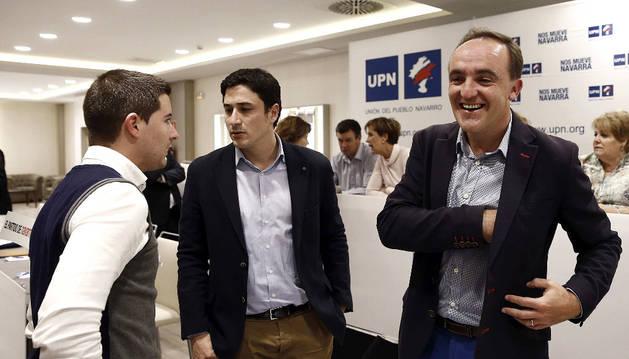 El presidente de UPN Javier Esparza antes de comenzar el Consejo Político de UPN.