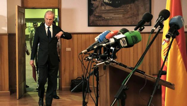Pedro Morenés, al comienzo de la rueda de prensa que ofreció la tarde del viernes.