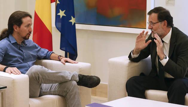 Mariano Rajoy recibió en el Palacio de la Moncloa al líder de Podemos, Pablo Iglesias.
