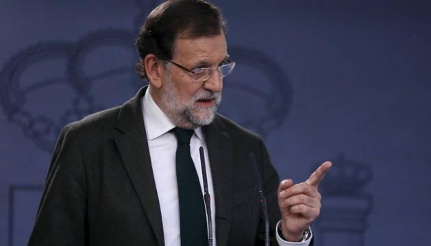 El presidente del Gobierno, Mariano Rajoy, durante la rueda de prensa.