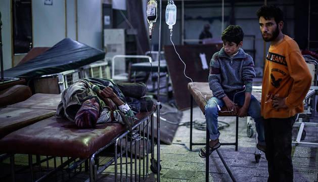 Hospital de campaña en las afueras de Damasco.