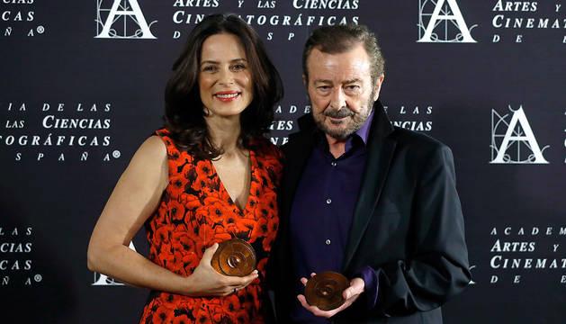 Los actores Juan Diego y Aitana Sánchez-Gijón, durante un encuentro con los medios de comunicación.