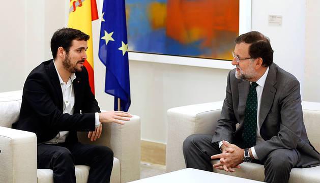 Alberto Garzón, con Rajoy en la Moncloa.