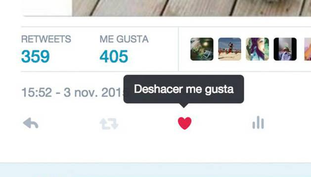 Twitter cambia la estrella de favoritos por un corazón