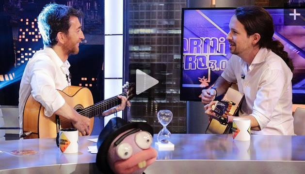 Pablo Iglesias, junto a Pablo Motos.
