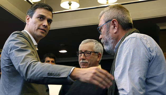 Pedro Sánchez, Toxo y Cándido Méndez.