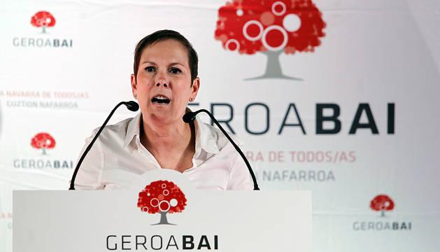 La líder de Geroa Bai y presidenta del Gobierno foral, Uxue Barkos, durante su intervención en el acto político del partido este sábado.