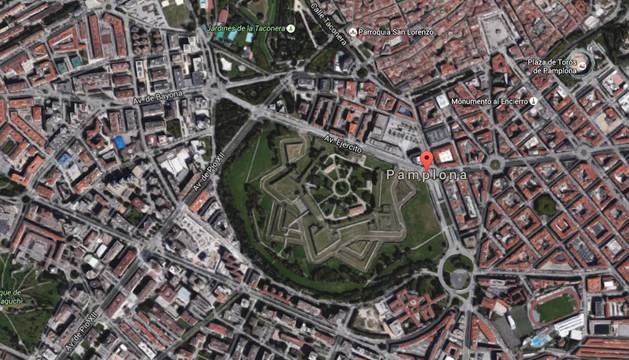 Vista de Pamplona en Google Maps.