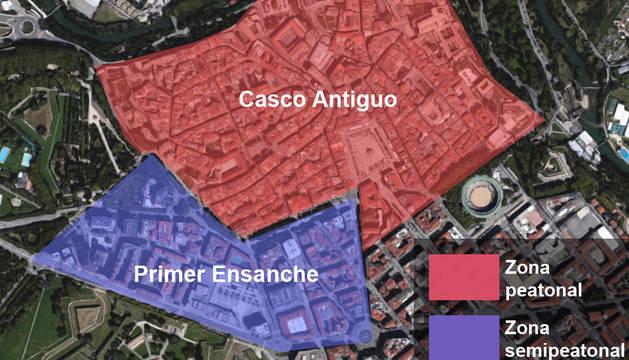 Gráfico de la propuesta de tráfico realizada por el Ayuntamiento de Pamplona.