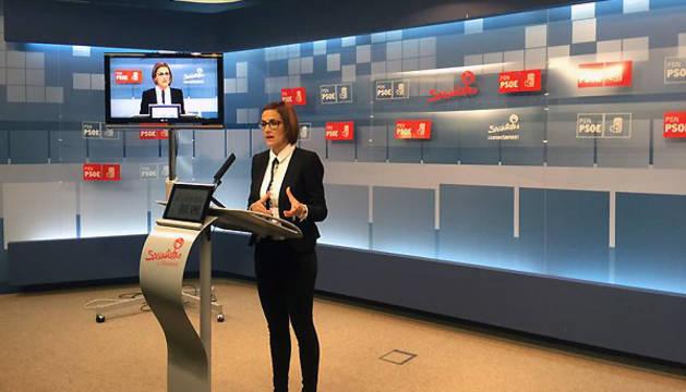 María Chivite, durante la rueda de prensa de este viernes.