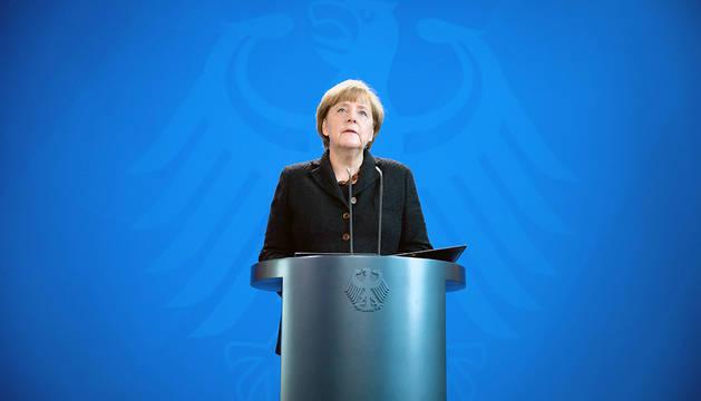 La canciller alemana, Angela Merkel, en su comparecencia ante los medios.