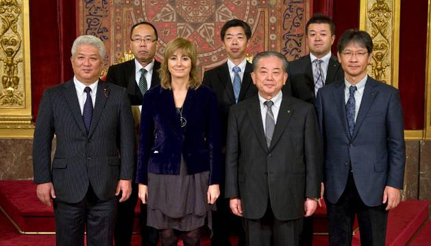 Recepción en el Palacio de Navarra a una delegación de la localidad japonesa de Yamaguchi.