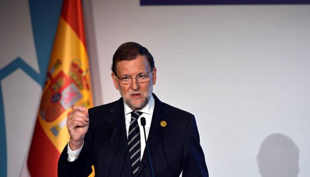 Mariano Rajoy durante una rueda de prensa con motivo de la décima cumbre del G20.