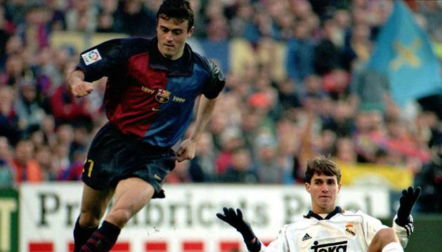 Luis Enrique, contra el Real Madrid en 1999.