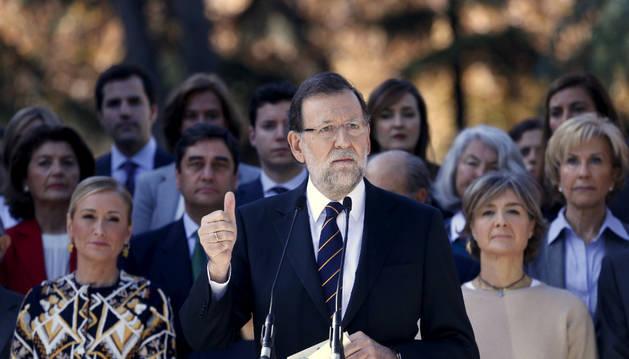 Mariano Rajoy durante su intervención en la presentación de la lista del PP al Congreso.