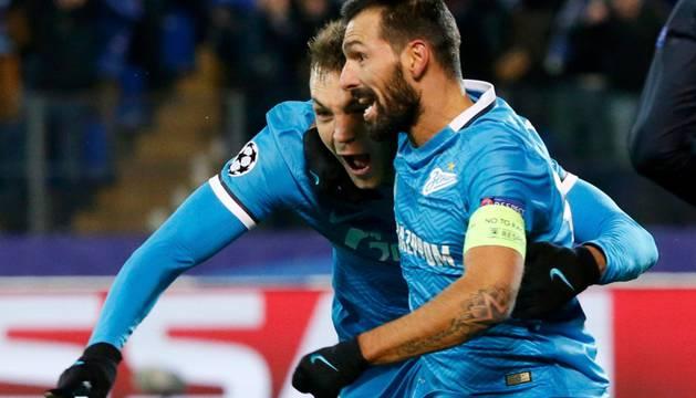 Dzyuba y Danny celebran el segundo gol del Zenit.