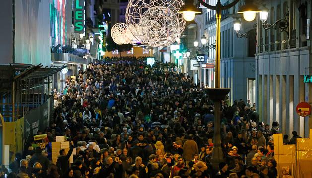 La calle Preciados, de Madrid, este viernes.