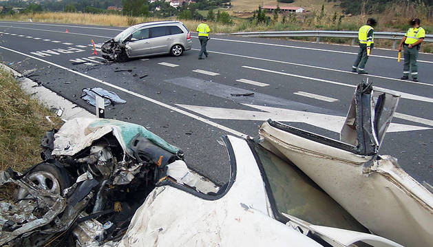 Imagen del accidente mortal, que ocurrió en Ostiz en agosto de 2013.