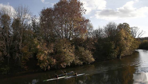 Varios piragüistas en el rio Arga a su paso por Pamplona.