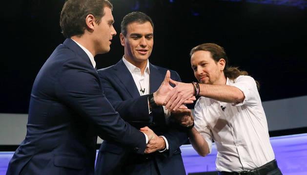 Rivera, Sánchez e Iglesias.