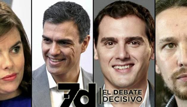 Sánchez, Iglesias, Rivera y Santamaría debatirán hoy de pie sin atriles