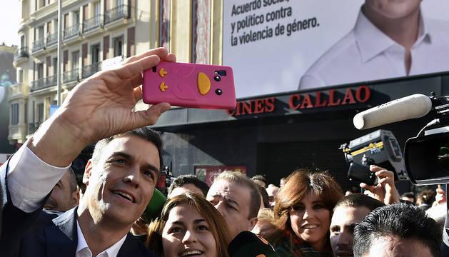 Sánchez, esta mañana en un acto en la plaza de Callao en Madrid.